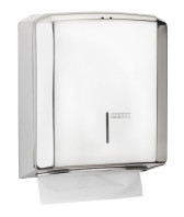 Paper towel dispenser in bright stainless steel